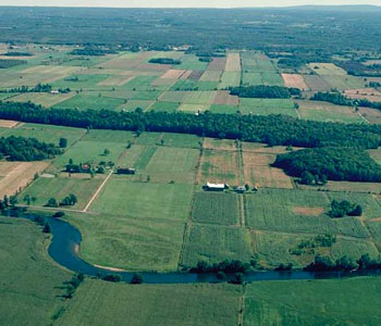 Aerial view of the Chateauguay River that flows southwest of Montreal across the US border